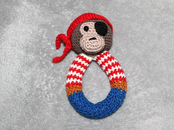 Monkey pirate rattle crochet pattern