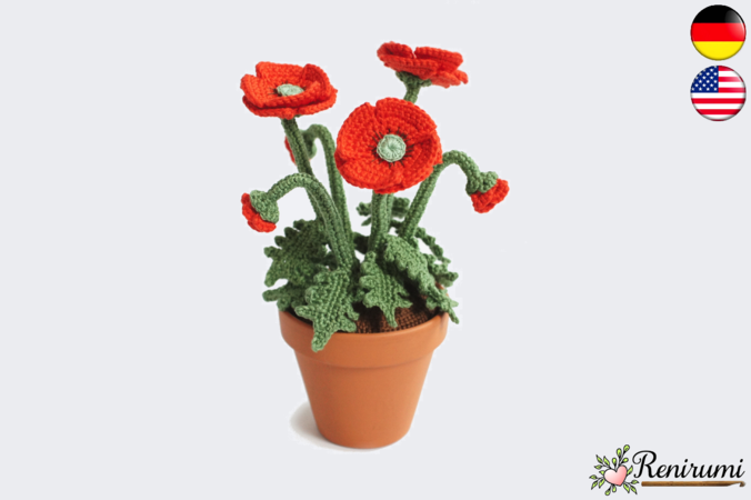 Crochet pattern Red Poppy