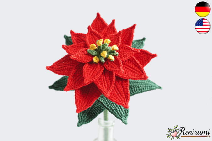 Crochet pattern Cutflower Poinsettia