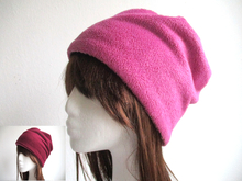 reversible winter fleece hat PDF pattern, 6 sizes
