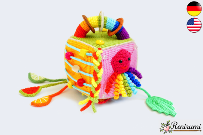 Crochet pattern activity cube - game dice