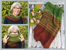 "Knitting Pattern ""Hyben Cowl"" with mosaic and lace pattern"