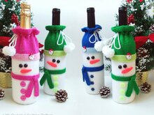 153 Knitting Pattern - Snowman bottle covers for wine and champagne - Amigurumi PDF file by Zabelina CP