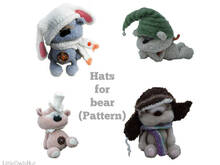 140 Knitting and Crochet Pattern - Hats for bear Cookie - Amigurumi soft toy PDF file by Pertseva CP