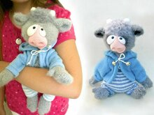 117 Crochet Pattern - Baby Goat and Baby Bull (with clothes) - Amigurumi PDF file by Astashova CP