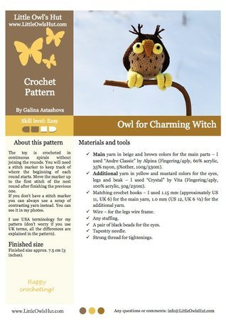083 Crochet Pattern - Owl for Charming Witch - Amigurumi PDF file by Astashova CP