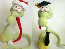 018 Crochet Pattern - Snake Snakish toy with wire frame + 2 hats - Amigurumi PDF file by Astashova CP