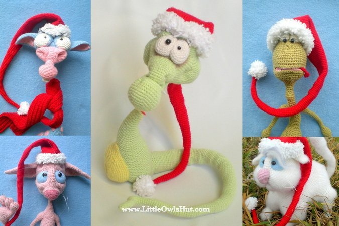 016 Crochet Pattern - Christmas - New Year Hat and scarf for toys - Amigurumi PDF file by Astashova CP