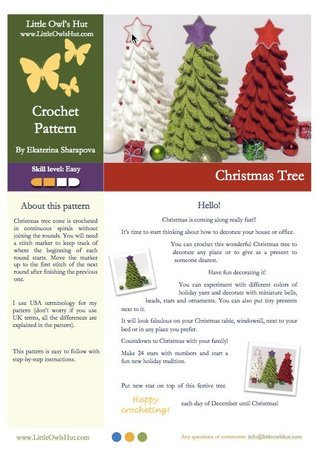 001 Crochet Pattern -  Christmas Tree - Amigurumi PDF file by Sharapova CP
