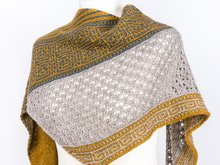 "Knitting Pattern Shawl ""Callisto"" with mosaic and lace pattern"