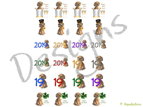 24 Stickers, Glass markers, New Year M03 Doggie
