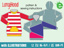 LongiHood • EU sizes 86 – 164 / US-size 18 months – 14 • kids Sweatshirt dress with hood PDF sewing pattern