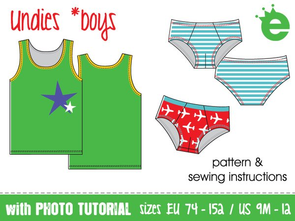 Undies for boys • sewing pattern • EU sizes 74-152, US-size 9M - 12