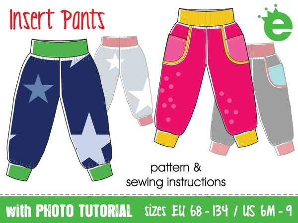 Insert pants for kids toddlers babies • sewing pattern sizes EU 68 – 134, US 6M to 9