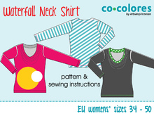 Waterfall neck shirt: E-Book sewing pattern PDF // EU sizes 34-50