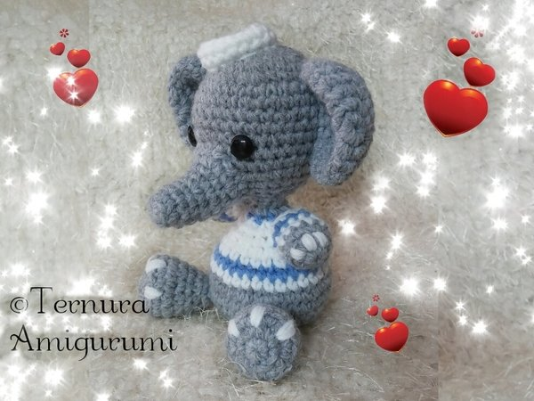 Crochet pattern Thoby, the puppy + Elly, the elephant PDF english- deutsch- dutch ternura amigurumi
