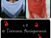 crochet pattern x2!! crochet pattern of Poncho + Triangular handkerchief. PDF english- deutsch- dutch. ternura amigurumi