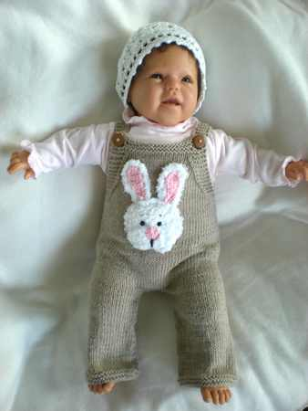 Knitting Pattern Baby Pants in 3 Sizes  with crochet rabitt applique