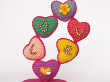 Crochet pattern for a heart tree. Colorful souvenir. Valentine's Day gift