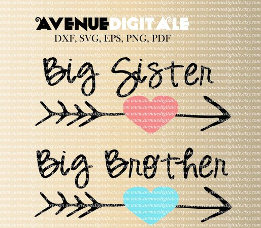 Big sister big brother SVG DXF EPS PNG PDF cutting files for Silhouette Cameo Graphtec Cricut