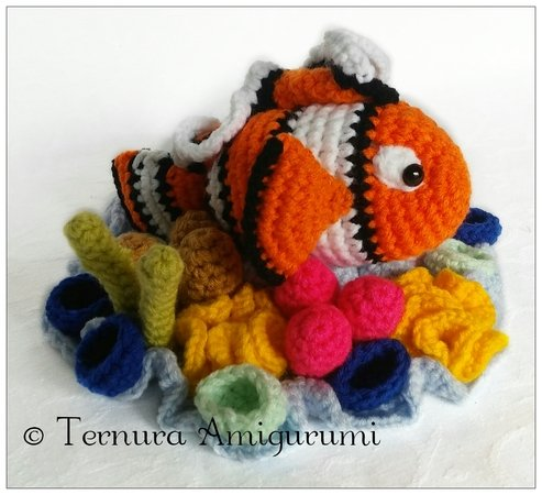 crochet pattern fish nemo and coral ternura amigurumi