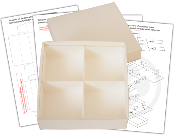 E-Book, DIY box template and tutorial, divided box, 4 squares