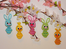 Crochet Pattern Easter hangers bunny and chick
