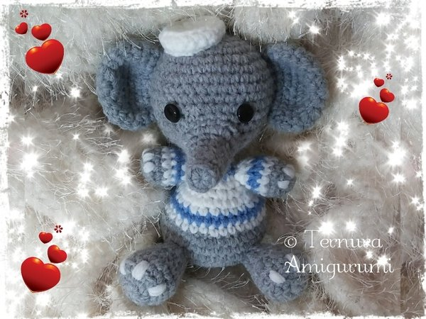 Crochet pattern of Elly, the elephant pdf ternura amigurumi