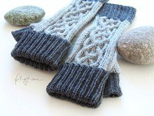 Knitting pattern: Fingerless mitts with Celtic Cables, for HIM and HER, 3 sizes