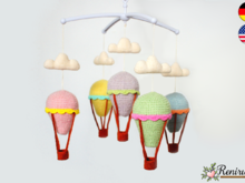 Crochet pattern crib mobile balloons and clouds