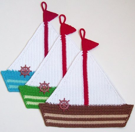 208 Crochet Patterns - Yacht Decor or potholders - Amigurumi PDF file by Zabelina CP