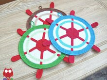 212 Crochet pattern - Ship wheel Potholder decor, potholder or decorative pillow - Amigurumi PDF file by Zabelina CP
