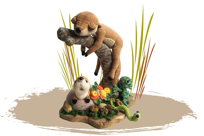 Meerkat, Chameleon and Worm Pattern Amigurumi PDF Deutsch -Dutch - English