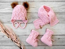 Knitting Pattern - Baby Set MARRA - Booties, Bonnet and Scarf - No216E