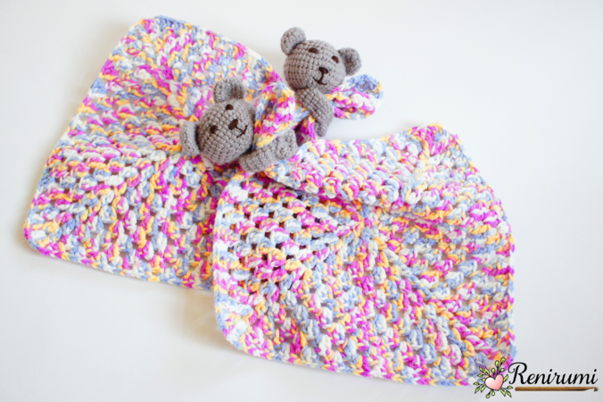 Crochet pattern snuggle baby toy blanket teddy bear