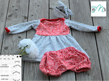 Newborn LOU SET Kleid,kurze Hose, Haarband  Gr. 50-92 + gratis Plott-Datei