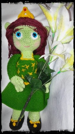 Crochet pattern doll of Princess Fiona (shrek) pdf ternura amigurumi