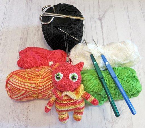 8*6 CM Mini Creative Pig Wool Keychain Doll Crochet Hand Knitted ... | 450x510
