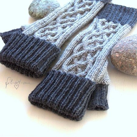 "Fingerless mitts ""Highland Mitts"" and wrist warmers ""Claire"", set of 2 knitting patterns"