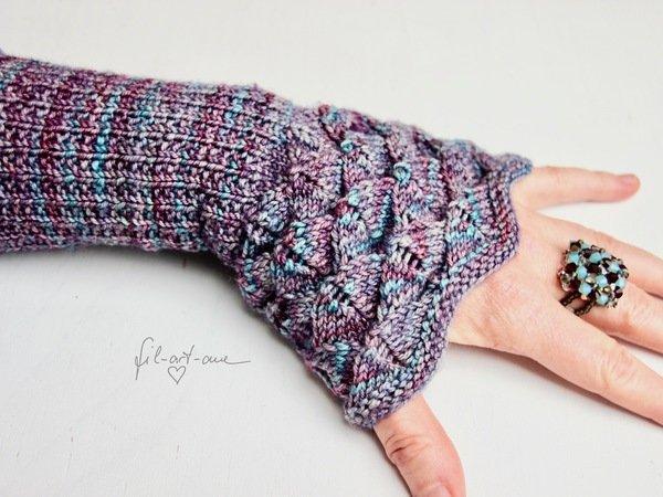 "Wrist warmers ""Lotus"", knitting pattern, 2 sizes"