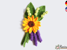 Crochet pattern boutonniere - Sunflower