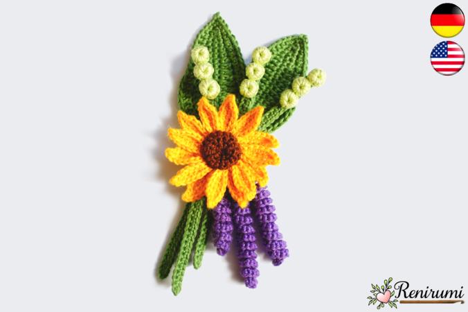 Crochet pattern boutonniere - Sunflower
