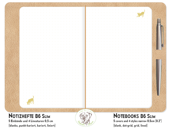 NotE-Book Set Dogs gold TN B6 Slim N2102