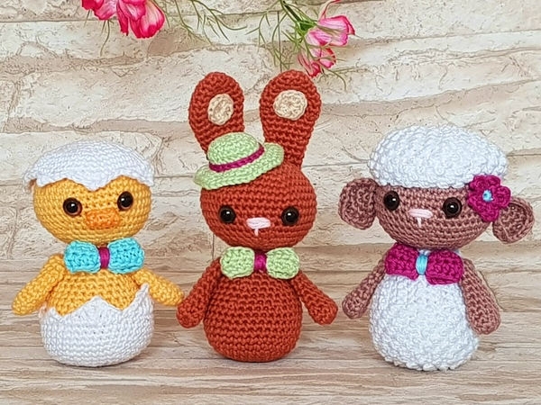 Easter Trio Chicklet Bunny Lamb Crochet Pattern