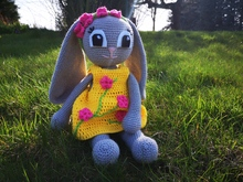 "Crochet Pattern Rabbit ""Henriette"" in yellow dress, 18 inch tall"