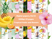 Tropical fruits digital paper