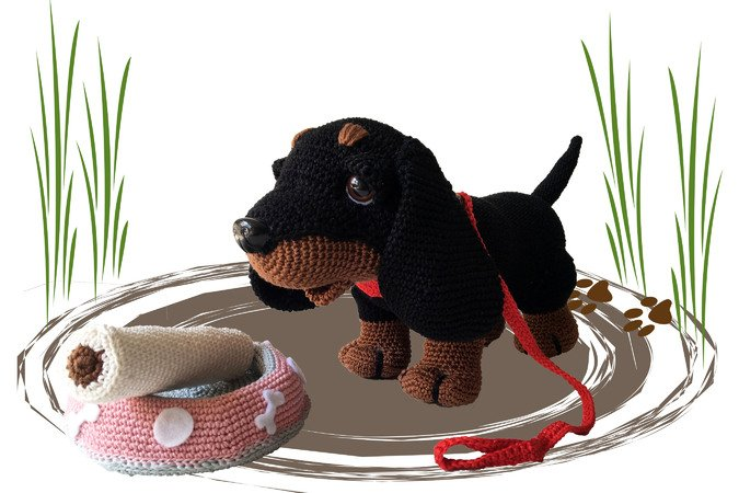 Dachshund Boni Pattern Amigurumi PDF German - Dutch - English