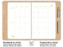 Monthly Planner Dogs gold TN B6 Slim K21222