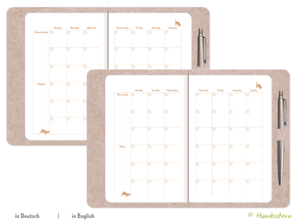 Monthly Planner Dogs copper TN B6 Slim K21223