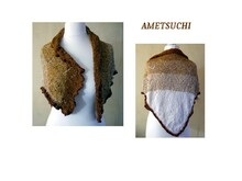 pattern for knitted triangular scarf Ametsuchi